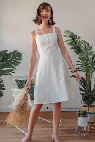 Button Panel Swing Dress in White