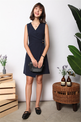 Wooden Buckle Overlap Work Dress in Navy