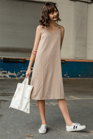 Circle Loop Midi Slip Dress in Sand