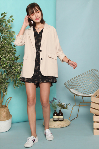 *BACK IN STOCK* Linen Oversized Blazer in Khaki