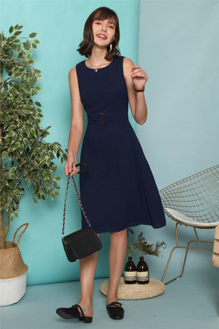 Circle Belted Swing Midi Dress in Navy