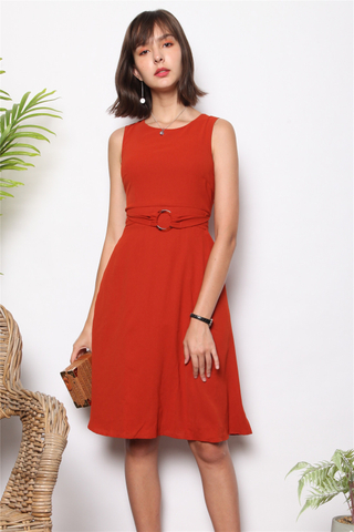 Circle Belted Swing Midi Dress in Rust