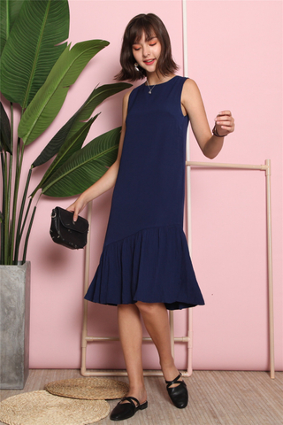 Asymmetrical Flowy Pleats Midi Dress
