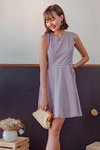Lattice Flare Work Dress in Dusty Grey