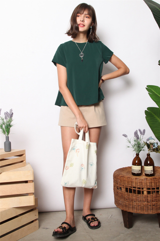 ACW Basic Asymmetrical Sleeve Top in Emerald