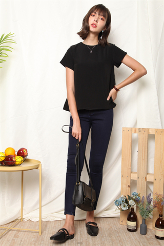 ACW Basic Asymmetrical Sleeve Top in Black