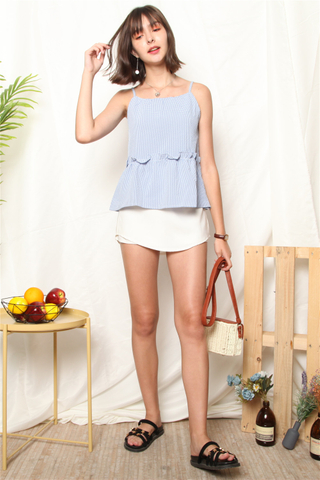 ACW Coloured Gingham Frill Top in Blue