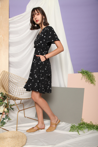 Dandelion Flutter Sleeve Sash Midi Dress in Black