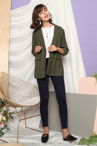 *BACK IN STOCK* Linen Oversized Blazer in Olive