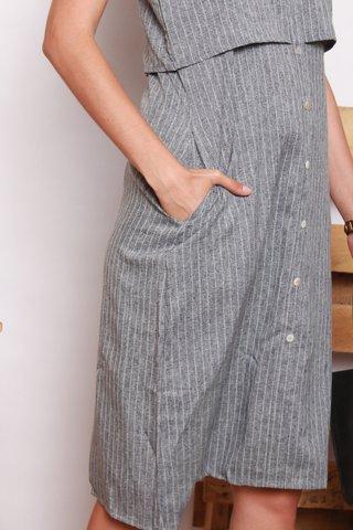 Pinstripe Tiered Hem Midi Dress in Blue-Grey