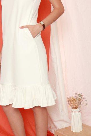 ACW Pleated Hemline Midi Dress in White