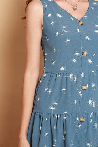 Dandelion Button Tiered Babydoll Dress in Blue