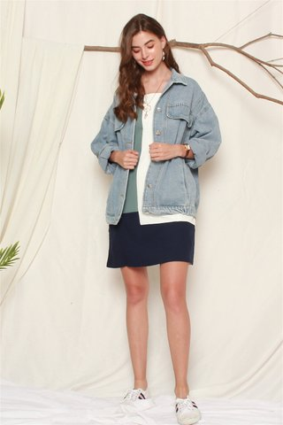 Aztec Embroidery Denim Oversized Jacket in Light Wash
