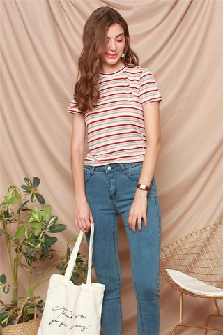 ACW Coloured Stripes Mod Top in Wine