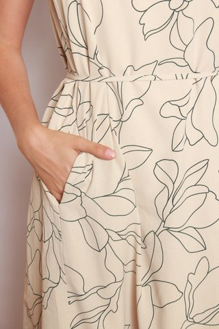ACW Floral Sketches Cut In Midi Sash Dress