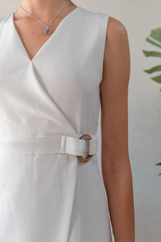 Wooden Buckle Overlap Work Dress in White