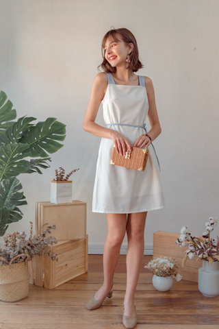 Colourblock Strap Sash Dress in White