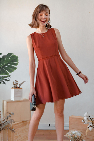 Lattice Flare Work Dress in Rust