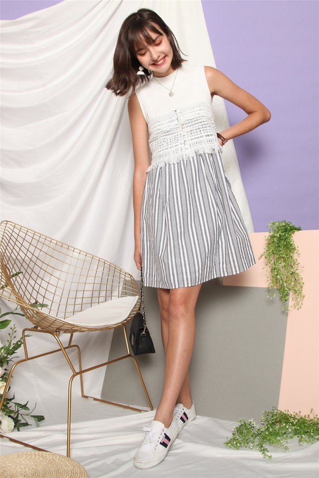 Crotchet Strap Pinstripe Dress in Grey