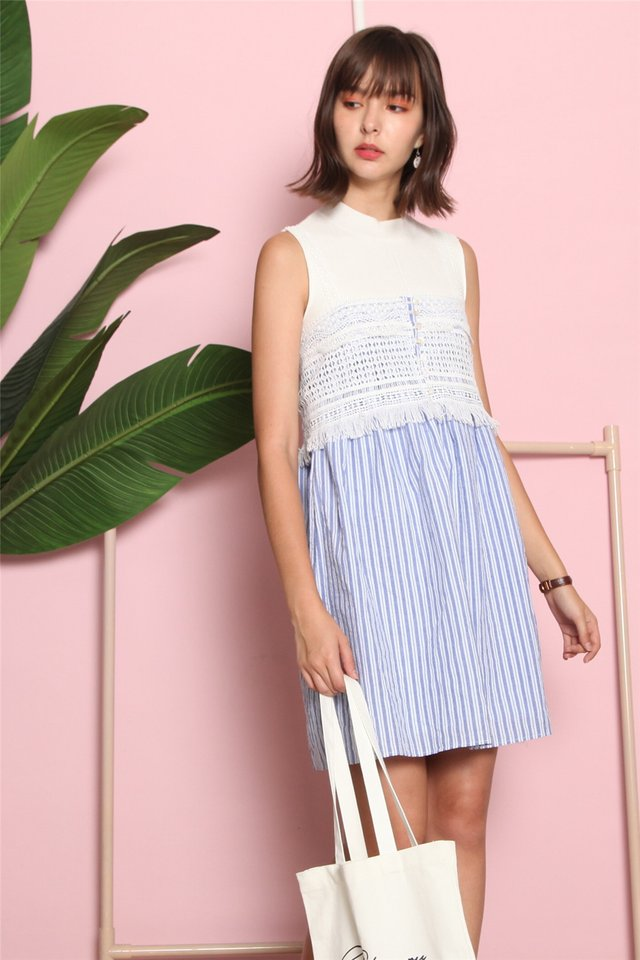 Crotchet Strap Pinstripe Dress in Blue