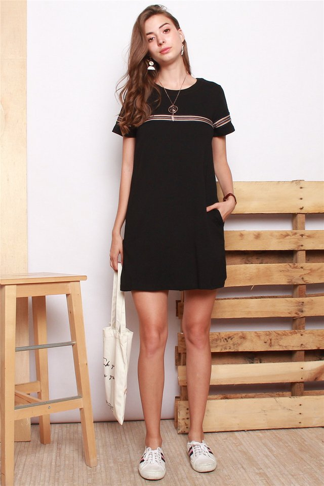 ACW Coloured Knit Panel Tee Dress in Black