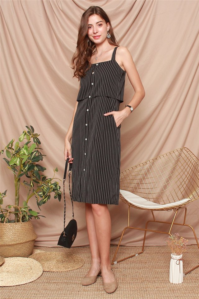 Pinstripe Tiered Hem Midi Dress in Black