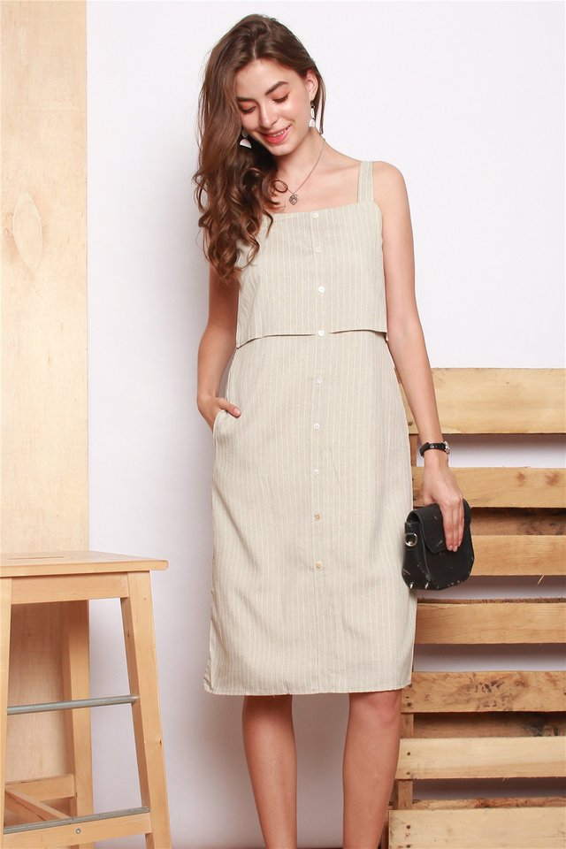Pinstripe Tiered Hem Midi Dress in Sand
