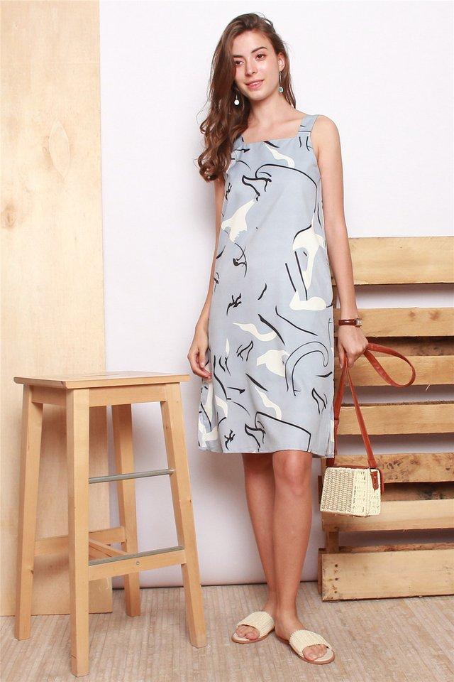 Abstract Swirls Midi Slip Dress in Blue
