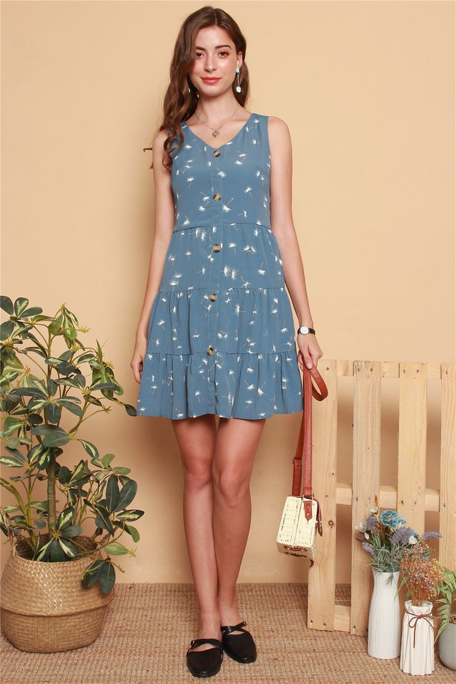 Dandelion Button Tiered Babydoll Dress in Blue