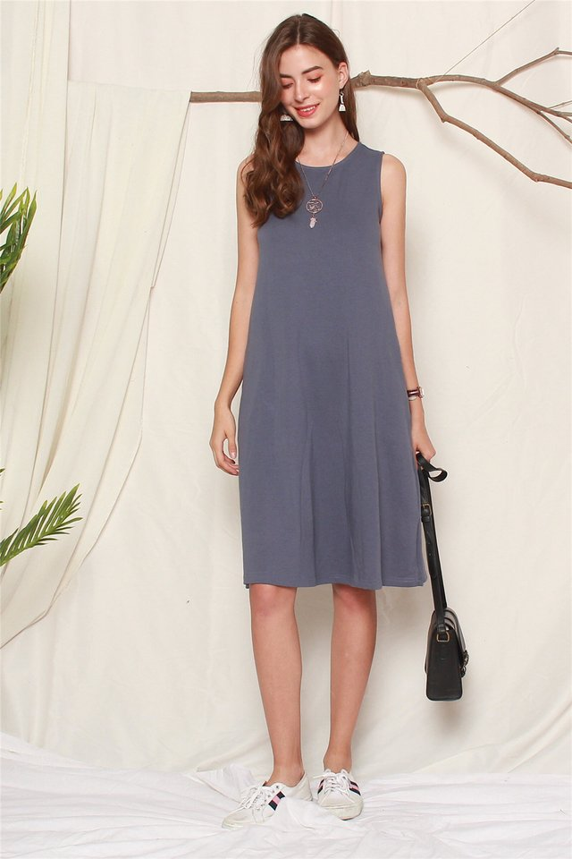 ACW Knit Basic Midi Dress in Stone Blue