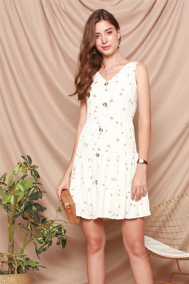 Dandelion Button Tiered Babydoll Dress in White