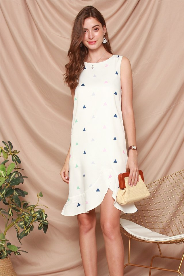 Triangle Prints Curved Hem Dress in White