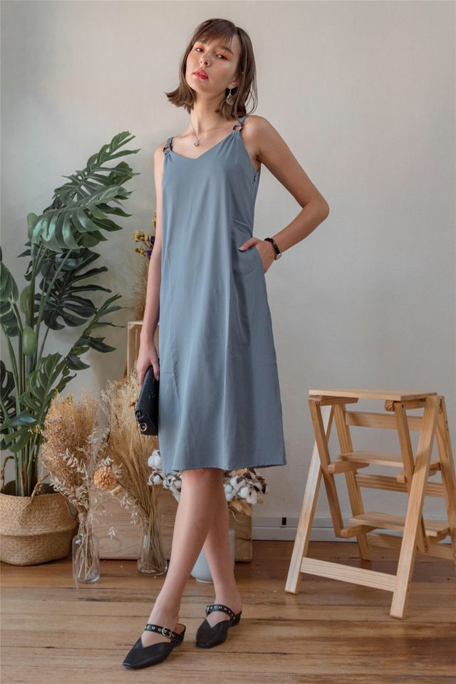 Circle Loop Midi Slip Dress in Ash Blue