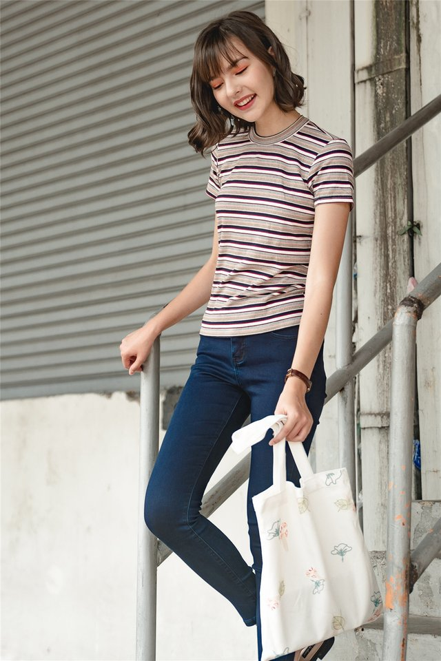 ACW Coloured Stripes Mod Top in Pink