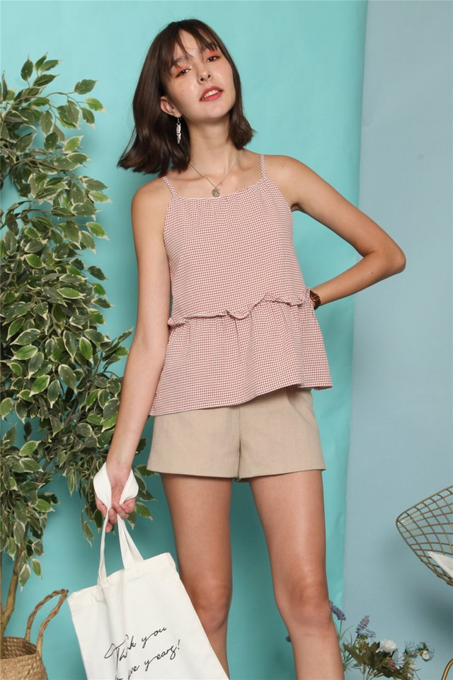 ACW Coloured Gingham Frill Top in Dusty Pink