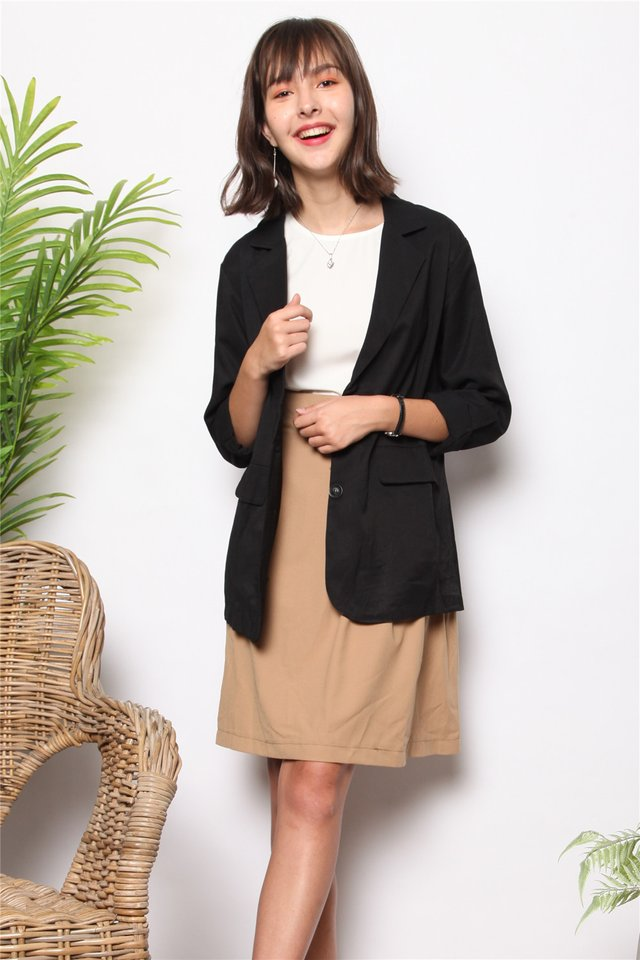 Linen Oversized Blazer in Black