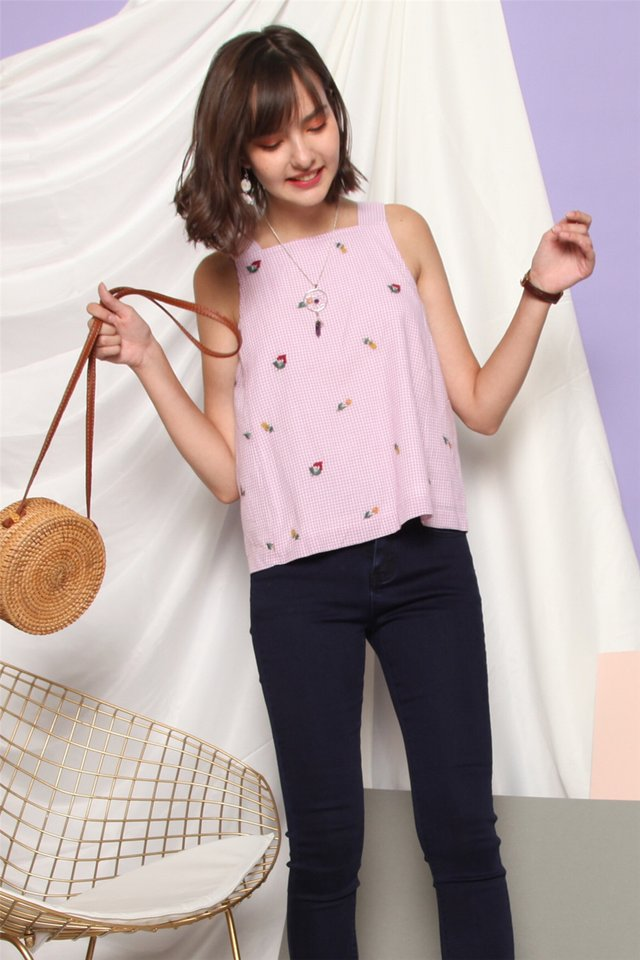 ACW Embroidery Gingham Cut In Top in Pink
