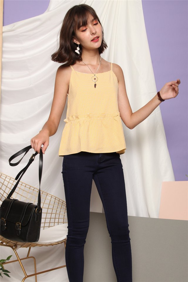 ACW Coloured Gingham Frill Top in Daffodil