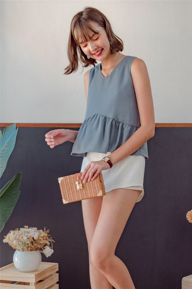 ACW Babydoll Angled Top in Ash Blue
