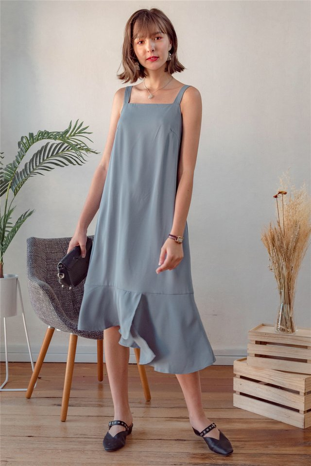ACW Tiered Midi Dress in Ash Blue