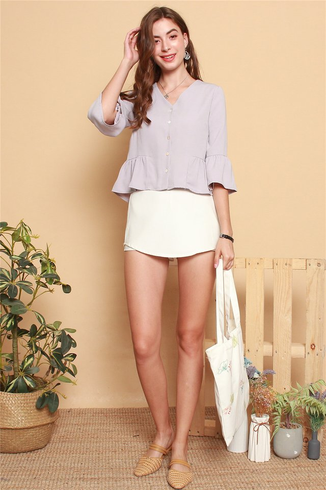 ACW Button Down Flutter Sleeve Shirt in Dusty Grey