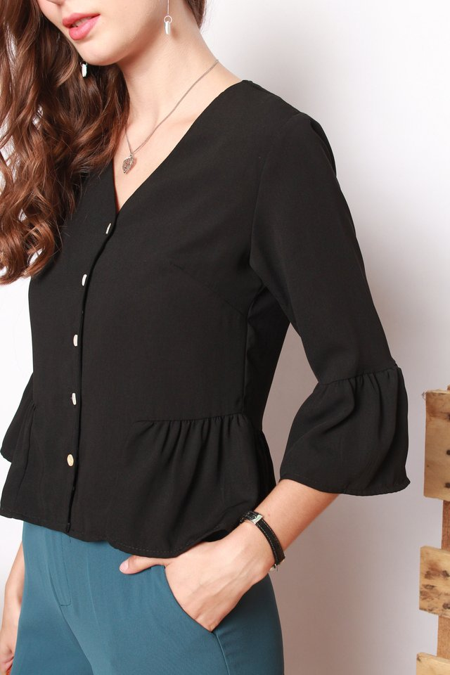 ACW Button Down Flutter Sleeve Shirt in Black