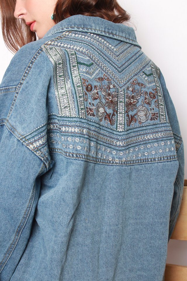 Aztec Embroidery Denim Oversized Jacket in Mid Wash