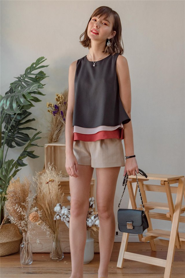 ACW Triple Colourblock Tiered Top in Black