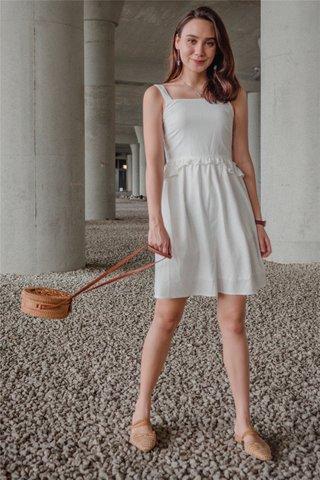 ACW Ruffle Waist Babydoll Dress in White