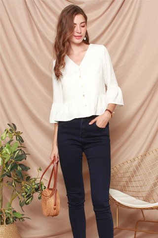 ACW Button Down Flutter Sleeve Shirt in White