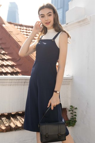 Button Strap Jumpsuit in Navy