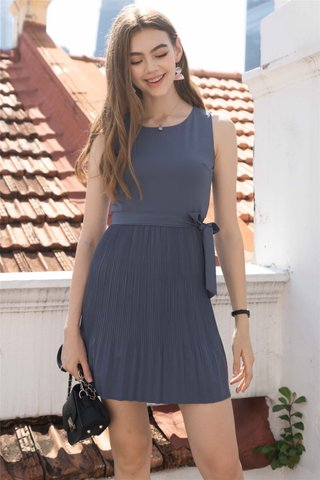 Fine Pleats Sash Dress in Ash Blue