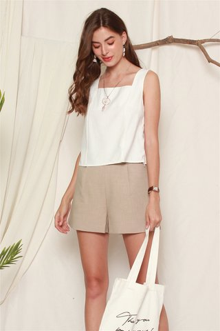 ACW Basic Square Neck Top in White