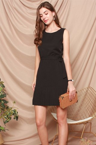 Fine Pleats Sash Dress in Black